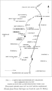 carte des Doyennés et granges de l'abbaye de Cluny vers 1320 (J-D Salveque, D Mehu)